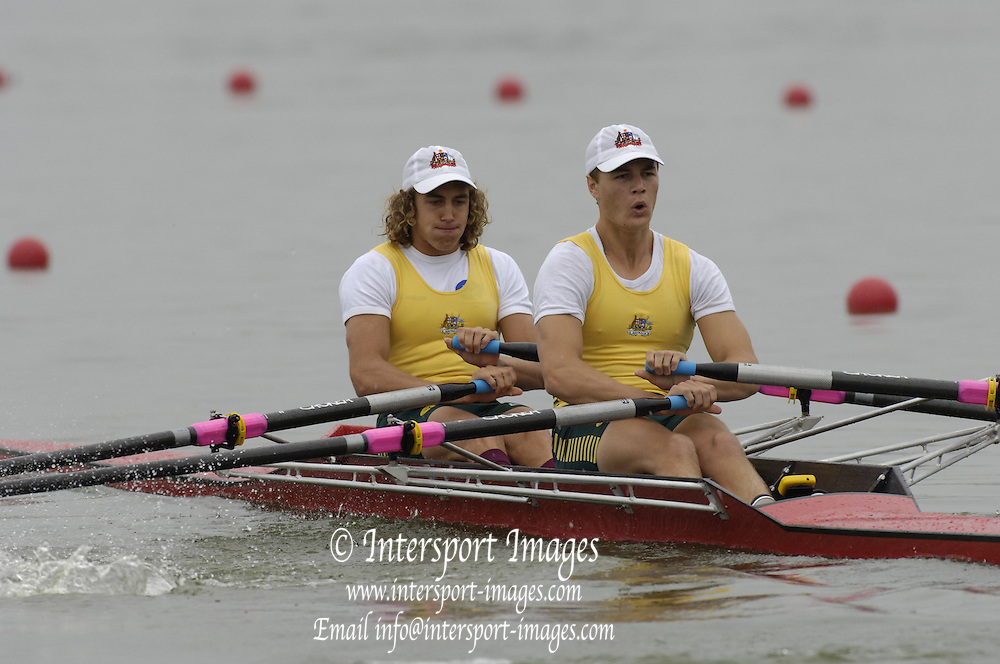 2005 FISA Junior  World Rowing Championships, Brandenburg, GERMANY. AUS JM2X Bow Matthew Bolt and James McRea.  03.08.2005. . © Peter Spurrier/Intersport Images - email images@intersport-images..[Mandatory Credit Peter Spurrier/ Intersport Images] Rowing Course: Brandenburg, Havel Rowing Course, Brandenburg, GERMANY