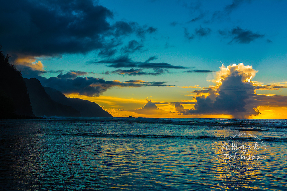 Thundercloud off of Ke'e Beach at sunset, Na Pali Coast, Kauai, Hawaii, USA