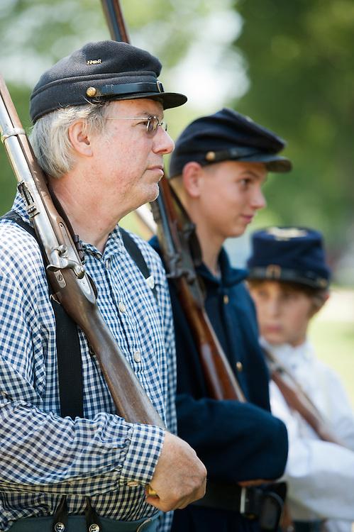 Reenactors of Civil War at encampment in Union Mills MD