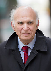 © Licensed to London News Pictures. 20/04/2017. London, UK. Former Liberal Democrat MP Vince Cable arrives at TV studios near Parliament. Mr Cable has announced that he will run for Parliament in the geneneral election on June 8th 2017. Photo credit: Peter Macdiarmid/LNP