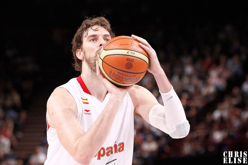 15 July 2012: Pau Gasol of Team Spain is seen at the free throw line during a pre-Olympic exhibition game won 75-70 by Spain over France, at the Palais Omnisports de Paris Bercy, in Paris, France.