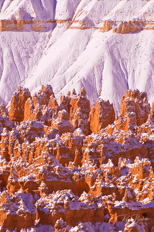 Fresh powder on rock formations in the Silent City, Bryce Canyon National Park, Utah