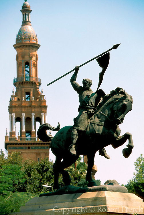 SPAIN, ANDALUSIA, SEVILLE statue of El Cid, legendary warrior
