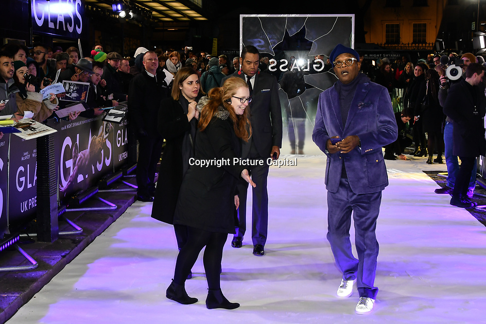 Samuel L. Jackson attends Premiere of M. Night Shyamalan's superhero thriller Glass, which follows Unbreakable and Split on 9 January 2019, London, UK.