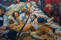 Palace of Versailles. Extract of a painting in the Gallery showing wounded soldiers.
