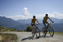 October 3, 2018 - Himachal Pradesh, India - Joachim and Kim of Germany (Team of Two) competes at the 14th edition of the Hero MTB Himalaya mountain bike race in the northern Indian state of Himachal Pradesh on 4th  October, 2018. The 14th edition of the annual cross country race is taking place over eight stages in the foothills of the Himalaya, started in Shimla on September 28, 2018 and finishing in Dharamshala on October 6,2018. (Credit Image: © Indraneel Chowdhury/NurPhoto/ZUMA Press)