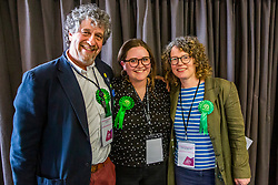 © Licensed to London News Pictures. 03/05/2019. Brighton, UK. Members of the Green Party (L-R) LEO LITTMAN, AMY HELEY and SIRIOL HUGH-JONES are elected to the Brighton and Hove council taking all seats in the Preston Park ward previously held by the Labour Party. Photo credit: Hugo Michiels/LNP