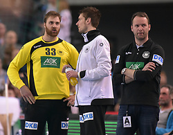 11.03.2016, Leipzig, GER, Handball Länderspiel, Deutschland vs Katar, Herren, im Bild Andreas Wolff (GER #33), Carsten Lichtlein (GER #16), GER Trainer Dagur Sigurdsson // during the men's Handball international Friendlies between Germany and Qatar in Leipzig, Germany on 2016/03/11. EXPA Pictures © 2016, PhotoCredit: EXPA/ Eibner-Pressefoto/ Modla<br /> <br /> *****ATTENTION - OUT of GER*****