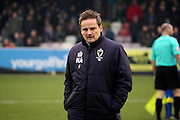 AFC Wimbledon manager Neal Ardley looking at ground during the EFL Sky Bet League 1 match between AFC Wimbledon and Charlton Athletic at the Cherry Red Records Stadium, Kingston, England on 11 February 2017. Photo by Matthew Redman.