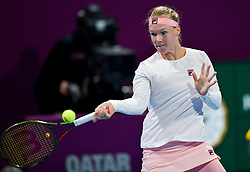 DOHA, Feb. 13, 2019  Kiki Bertens of the Netherlands hits a return during the women's singles first round match between Kiki Bertens of the Netherlands and Camila Giorgi of Italy at the 2019 WTA Qatar Open in Doha, Qatar, on Feb. 12, 2019. Kiki Bertens won 2-1. (Credit Image: © Nikku/Xinhua via ZUMA Wire)