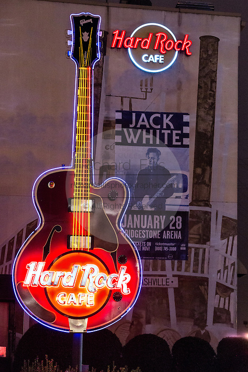 Neon sign for Hard Rock Cafe on lower Broadway in Nashville, TN.