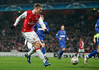 Photo: Tom Dulat/Sportsbeat Images.<br /> <br /> Arsenal v Steaua Bucharest. UEFA Champions League. 12/12/2007.<br /> <br />  Arsenal's Nicklas Bendtner scores second goal for the team. Arsenal leads 2-0