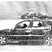 Louie and Gus on a perilous drive home. Photo Illustration.