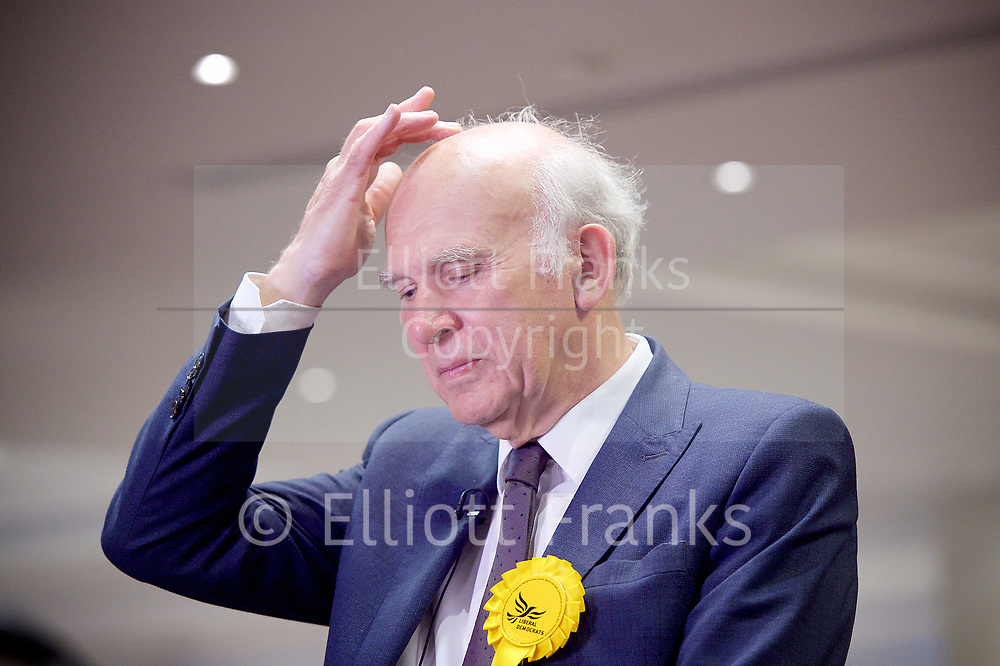 General Election count for the Twickenham &amp; Richmond Park constituencies at the Twickenham Rugby Stadium, Twickenham, Middlesex, Great Britain <br /> 8th June 2017 <br /> <br /> Vince Clarke<br /> wins the Twickenham seat <br /> <br /> <br /> Photograph by Elliott Franks <br /> Image licensed to Elliott Franks Photography Services