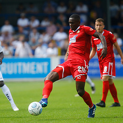 Wrexhams midfielder Akil Wright passes the ball during the opening National League match between Dover Athletic and Wrexham FC at Crabble Stadium, Kent on 04 August 2018. Photo by Matt Bristow.