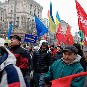 December 18, 2013 - Kiev, Ukraine: Pro-EU demonstrators rally at Independence Square, also known as Maidan.<br /> On the night of 21 November 2013, a wave of demonstrations and civil unrest began in Ukraine, when spontaneous protests erupted in the capital of Kiev as a response to the government's suspension of the preparations for signing an association and free trade agreement with the European Union. Anti-government protesters occupied Independence Square, also known as Maidan, demanding the resignation of President Viktor Yanukovych and accusing him of refusing the planned trade and political pact with the EU in favor of closer ties with Russia.<br /> After a days of demonstrations, an increasing number of people joined the protests. As a responses to a police crackdown on November 30, half a million people took the square. The protests are ongoing despite a heavy police presence in the city, regular sub-zero temperatures, and snow. (Paulo Nunes dos Santos/Polaris)