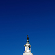 US Capitol, Capitol Hill, Washington DC with copyspace with deep blue clear sky