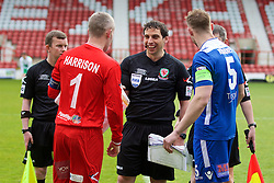 WREXHAM, WALES - Monday, May 2, 2016: Referee Bryn Markham Jones tosses the coin with The New Saints' goalkeeper Paul Harrison and Airbus UK Broughton's captain Ian Kearney during the 129th Welsh Cup Final at the Racecourse Ground. (Pic by David Rawcliffe/Propaganda)