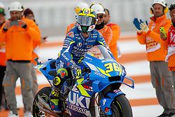 November 17, 2019, Cheste, VALENCIA, SPAIN: Joan Mir, rider of Team SUZUKI ECSTAR from Spain, celebrates during the MotoGP Race of the Valencia Grand Prix of MotoGP World Championship celebrated at Circuit Ricardo Tormo on November 16, 2019, in Cheste, Spain. (Credit Image: © AFP7 via ZUMA Wire)