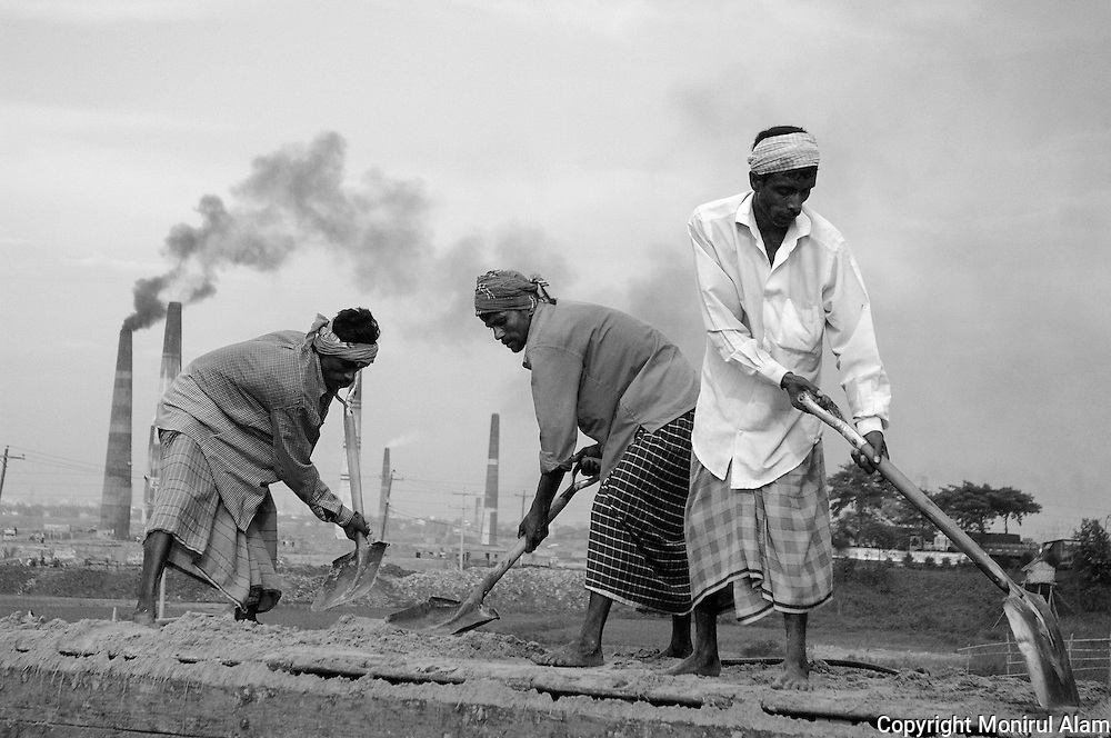 Savar. Bangladesh. (2007). Daily work in the brick fields. Bangladesh ranks first as the nation most vulnerable to the impacts of climate change. Scientists expect rising sea levels to submerge 17 percent of Bangladesh's land and displace 18 million people in the next 40 years.