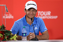 September 24, 2017 - Atlanta, Georgia, United States - Xander Schauffele, winner of the TOUR Championship, speaks to the media after the final round of the TOUR Championship at the East Lake Club. (Credit Image: © Debby Wong via ZUMA Wire)