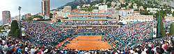 MONTE-CARLO, MONACO - Tuesday, April 13, 2010: A general view of the centre court at the Monte-Carlo Country Club as Jo-Wilfried Tsonga (FRA) takes on Nicolas Almagro (ESP) during the 2nd Round of the ATP Masters Series Monte-Carlo. (Photo by David Rawcliffe/Propaganda)