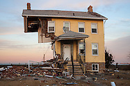 A home on Front Street in Union Beach New Jersey destroyed by superstorm Sandy's surge. The hurricane damaged 200 homes in Union Beach alone. Sandy's strength was blamed on climate change by many scientists.