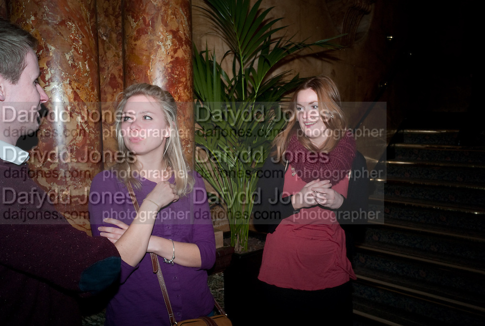 LUKE HARRIS; JOANNA SAWYER; EMILY CARROLL, Opening night of Singing in the Rain. Palace Theatre. Cambridge Circus. London. 15 February 2012.
