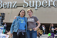 Cherri Foytlin with Jane Kleeb in New Orleans out side of the Superdome.