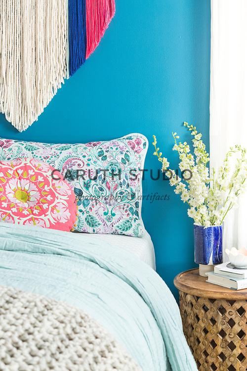 Blue and aqua bedroom detail