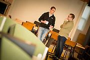 Iain Keaney, from Sligo Start-ups talking with Noel Dykes from Frankli, at The Building Block in Sligo.<br /> Photo: James Connolly<br /> 26JUL17