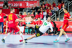 Hendrik Pekeler of Germany during handball match between National teams of Germany and Montenegro on Day 2 in Preliminary Round of Men's EHF EURO 2018, on January 13, 2018 in Arena Zagreb, Zagreb, Croatia. Photo by Ziga Zupan / Sportida