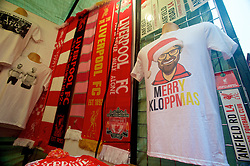LIVERPOOL, ENGLAND - Sunday, December 13, 2015: A Jürgen Klopp T-shirt on sale before the Premier League match of Liverpool against West Bromwich Albion at Anfield. (Pic by James Maloney/Propaganda)
