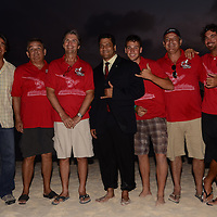 Staff of Aruba Race organization and Dr Richard Visser in the 25th edition of the event Hi Winds and adding to the celebrations is the PWA World Tour, making a stop on Aruba with its Freestylers and Slalom. Aruba Hi Winds Grand Slam Pro-AM. June 19-June 26, 2011.Jimmy Villalta & Valentina Calatrava