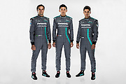 L-R, Nelson Piquet Jr, Ho Ping Tung and Mitch Evans (NZL) are confirmed as drivers for upcoming season.<br /> Panasonic Jaguar Racing - CHARGE LIVE EVENT at Whitely Engineering Centre, Warwickshire, UK on Thursday 21 September 2017<br /> Photo: LAT / Panasonic Jaguar Racing