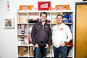 Feb 19, 2015; Baltimore, MD, USA; OrderUp, a food delivery startup, co-founders Chris Jeffery and Jason Kwicien pose for portraits at their office space in the Can Company building in Baltimore, MD. Mandatory Credit: Brian Schneider/www.ebrianschneider.com