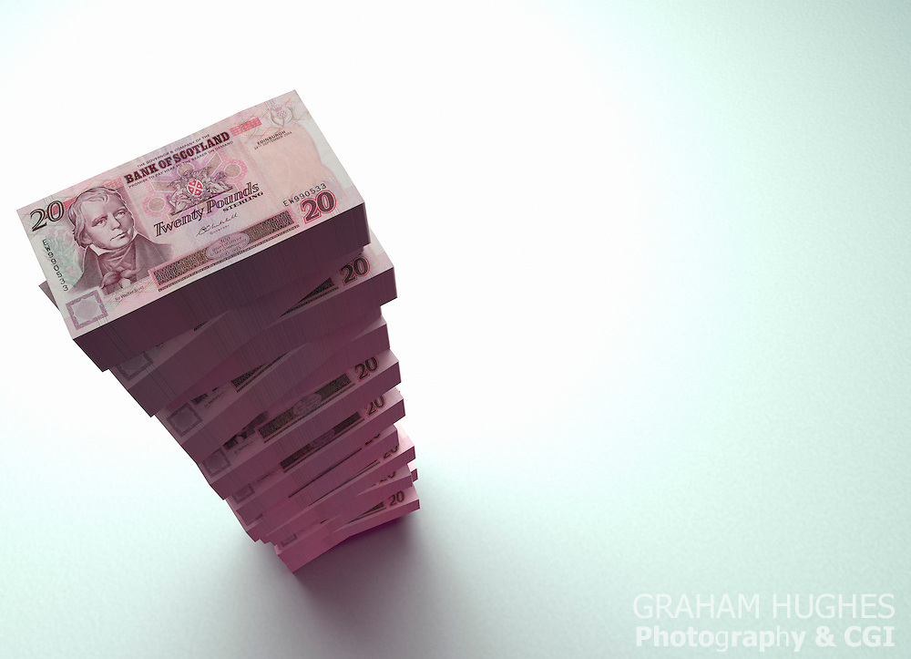 Stack of £20 pound Bank Of Scotland bank notes on white background.