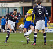 Greenock Morton's Kevin Rutkiewicz blocks Dundee's Colin Nish's shot - Dundee v Greenock Morton, William Hill Scottish Cup 5th Round at Dens Park .. - © David Young - www.davidyoungphoto.co.uk - email: davidyoungphoto@gmail.com