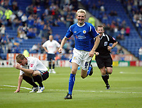 Photo: Chris Ratcliffe.<br />Leicester City v Ipswich Town. Coca Cola Championship. 12/08/2006.<br />Stephen Hughes celebrates putting Leicester into a 2-0 lead.