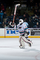 KELOWNA, CANADA - JANUARY 23: Michael Herringer #30 of Kelowna Rockets salutes the fans and accepts a star of the game against the Medicine Hat Tigers on January 23, 2016 at Prospera Place in Kelowna, British Columbia, Canada.  (Photo by Marissa Baecker/Shoot the Breeze)  *** Local Caption *** Michael Herringer;