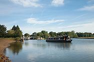 Narrowboat on the River Thames at Godstow Lock, Oxford, Uk