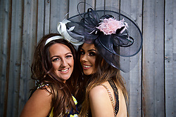 LIVERPOOL, ENGLAND - Thursday, April 6, 2017: Nicole Foran, and Jenna O'Leary, 23 from Southampton, during The Opening Day on Day One of the Aintree Grand National Festival 2017 at Aintree Racecourse. (Pic by David Rawcliffe/Propaganda)