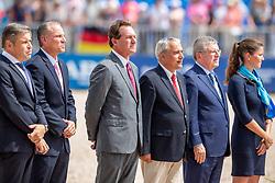 BELLISSIMO Mark (CEO), DE VOS Ingmar (FEI Präsident), BACH Thomas (Präsident IOC)<br /> Tryon - FEI World Equestrian Games™ 2018<br /> Siegerehrung / Medaillenvergabe<br /> FEI World Individual Jumping Championship<br /> Third cometition - Round B<br /> 3. Qualifikation Einzelentscheidung 1. Runde<br /> 23. September 2018<br /> © www.sportfotos-lafrentz.de/Stefan Lafrentz