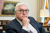 02 JUL 2018, BERLIN/GERMANY:<br /> Frank-Walter Steinmeier, Bundespraesident, waehrend einem Interview, Amtszimmer des Bundespraesidenten, Schloss Bellevue<br /> IMAGE: 20180702-01-013<br /> KEYWORDS: Bundespr&auml;sident