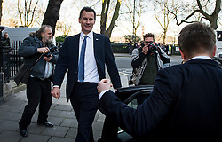 © Licensed to London News Pictures. 11/02/2016. London, UK. Secretary of State for Health JEREMY HUNT leaving Milbank Studios in Westminster today today (11/02/2016) after television interviews. Hunt today announced that he will force through a new junior doctors contract against their will Photo credit: Ben Cawthra/LNP