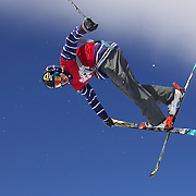 David Wise, USA, in action during his second place finish in the Men's Halfpipe Finals during The North Face Freeski Open at Snow Park, Wanaka, New Zealand, 3rd September 2011. Photo Tim Clayton...