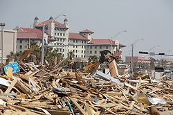 Stock photo of debris from Hurricane Ike piled along the seawall in Galveston Texas