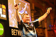 Terry Jenkins takes to the stage ahead of the First Round of the BetVictor World Matchplay Darts at the Empress Ballroom, Blackpool, United Kingdom on 19 July 2015. Photo by Shane Healey.