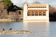 Lagoon at Villafáfila with a bird hide.