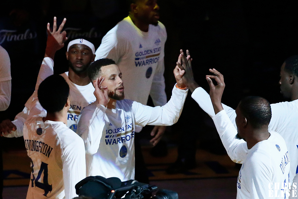 01 June 2017: Golden State Warriors guard Stephen Curry (30) is seen during the players introduction prior to the Golden State Warriors 113-90 victory over the Cleveland Cavaliers, in game 1 of the 2017 NBA Finals, at the Oracle Arena, Oakland, California, USA.